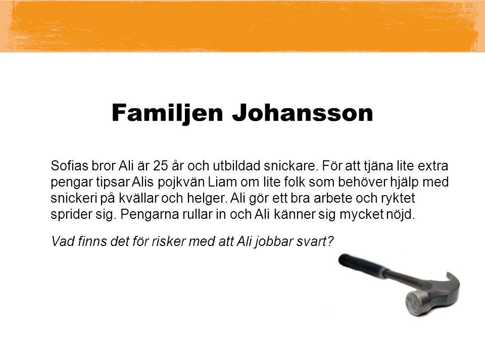 Familjen Johansson Sofias bror Ali är 25 år och utbildad snickare.