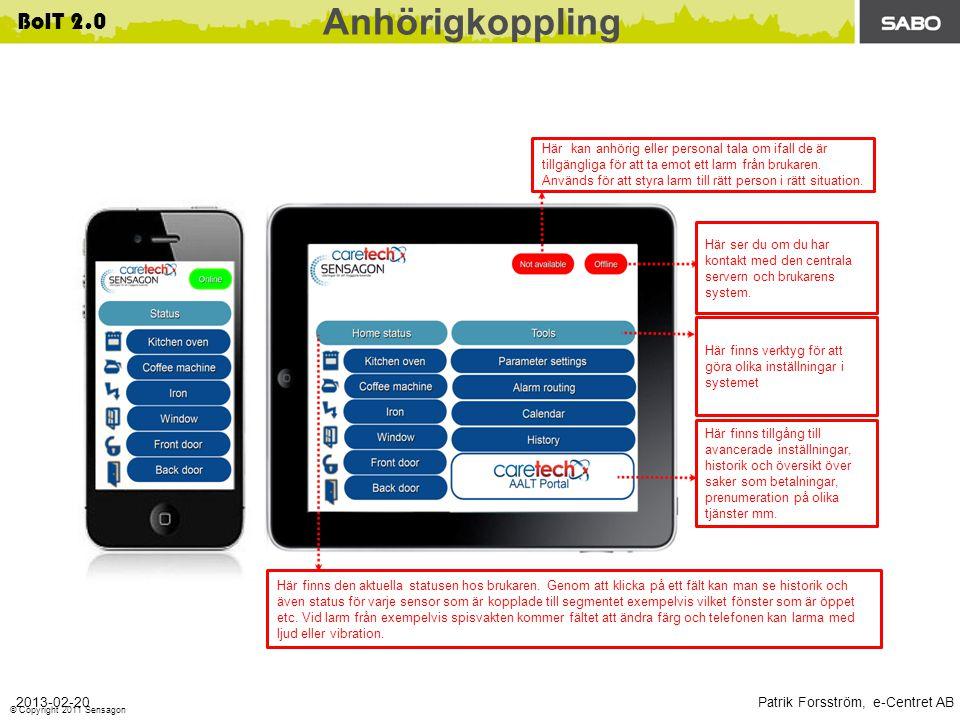 Patrik Forsström, e-Centret AB 2013-02-20 BoIT 2.0 © Copyright 2011 Sensagon Här kan anhörig eller personal tala om ifall de är tillgängliga för att ta emot ett larm från brukaren.