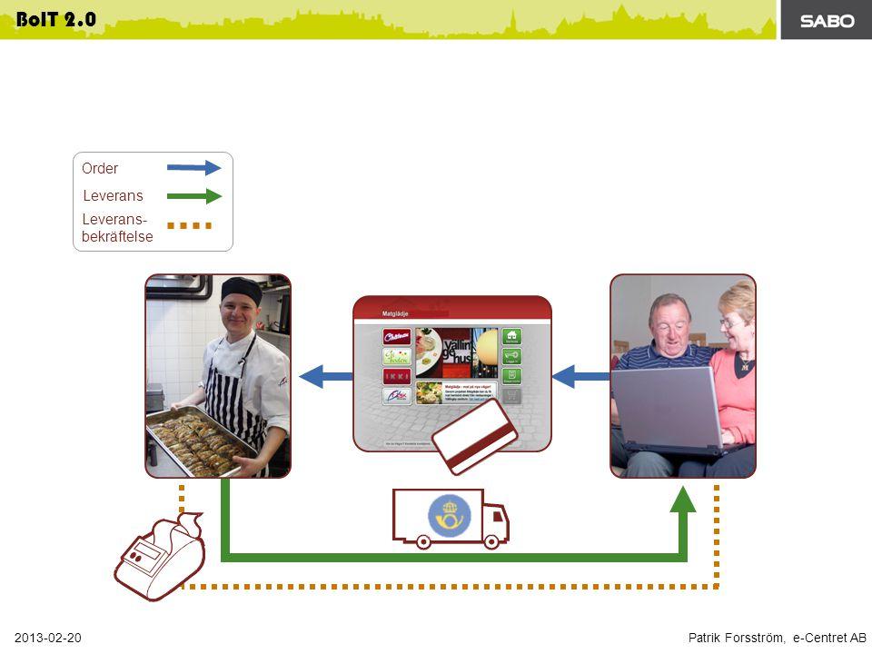 Patrik Forsström, e-Centret AB 2013-02-20 BoIT 2.0 Order Leverans Leverans- bekräftelse