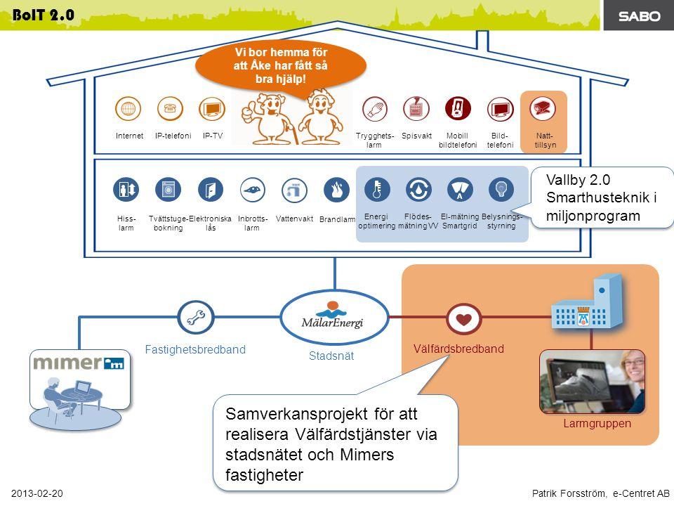 Patrik Forsström, e-Centret AB 2013-02-20 BoIT 2.0 Fastighetsbredband Stadsnät Energi optimering Flödes- mätning VV El-mätning Smartgrid Belysnings- styrning Tvättstuge- bokning Elektroniska lås Hiss- larm A Inbrotts- larm Vattenvakt Brandlarm Välfärdsbredband Larmgruppen InternetIP-telefoniIP-TV SpisvaktTrygghets- larm Mobill bildtelefoni Bild- telefoni Natt- tillsyn Vi bor hemma för att Åke har fått så bra hjälp.