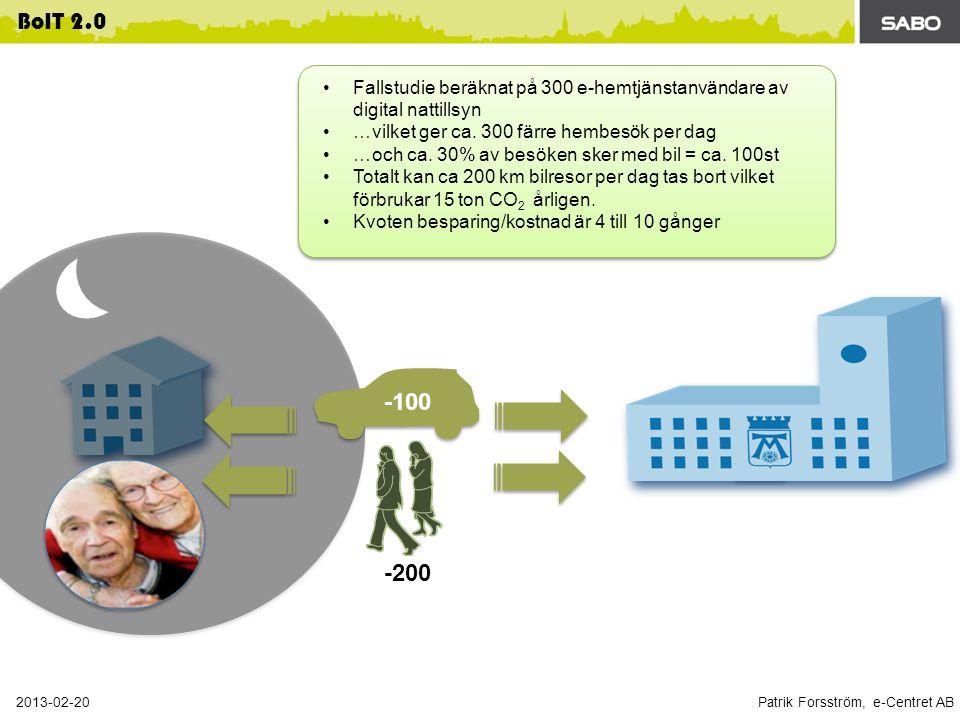 Patrik Forsström, e-Centret AB 2013-02-20 BoIT 2.0 Fallstudie beräknat på 300 e-hemtjänstanvändare av digital nattillsyn …vilket ger ca.