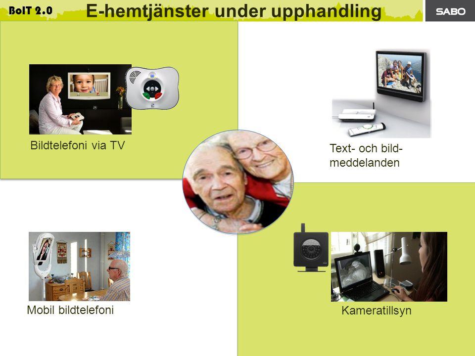 Patrik Forsström, e-Centret AB 2013-02-20 BoIT 2.0 E-hemtjänster under upphandling Bildtelefoni via TV Mobil bildtelefoni Text- och bild- meddelanden Kameratillsyn