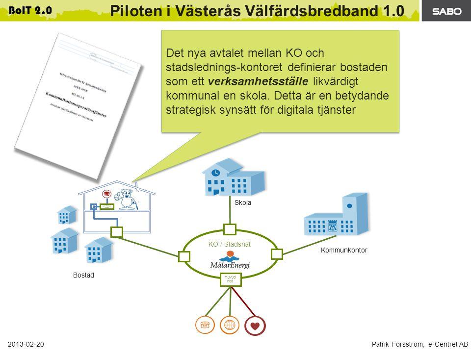Patrik Forsström, e-Centret AB 2013-02-20 BoIT 2.0 Piloten i Västerås Välfärdsbredband 1.0 Hemmanod DRG Huvud nod KO / Stadsnät Kommunkontor Skola Bostad Det nya avtalet mellan KO och stadslednings-kontoret definierar bostaden som ett verksamhetsställe likvärdigt kommunal en skola.
