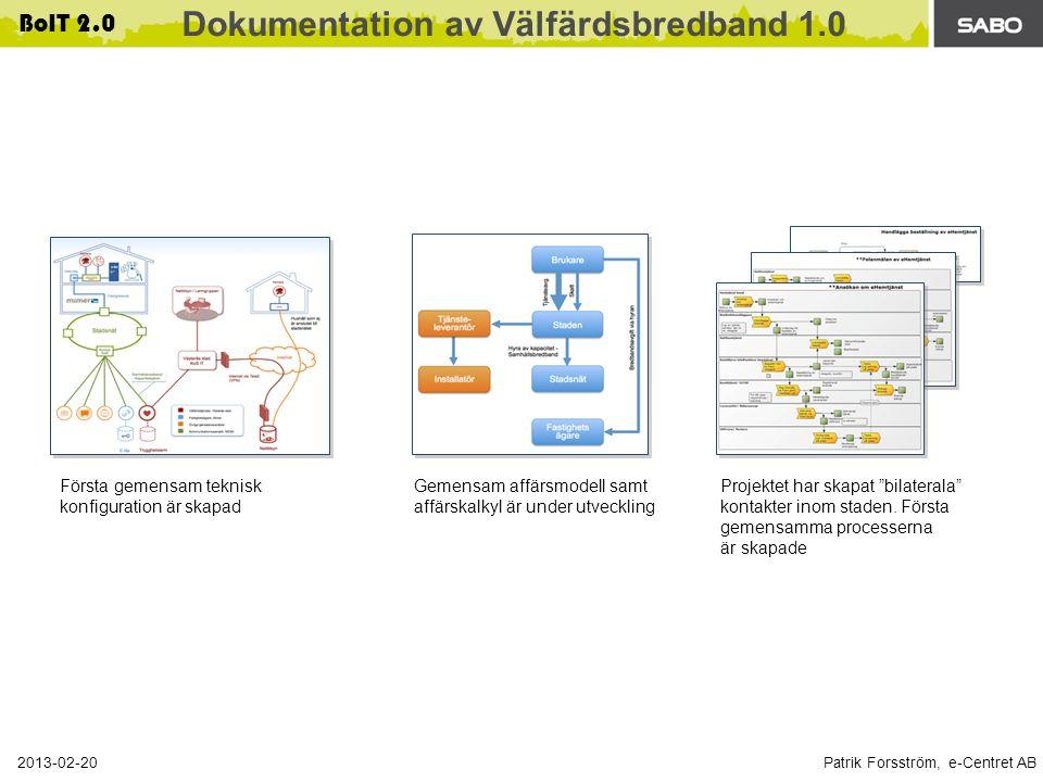 Patrik Forsström, e-Centret AB 2013-02-20 BoIT 2.0 Dokumentation av Välfärdsbredband 1.0 Första gemensam teknisk konfiguration är skapad Gemensam affärsmodell samt affärskalkyl är under utveckling Projektet har skapat bilaterala kontakter inom staden.