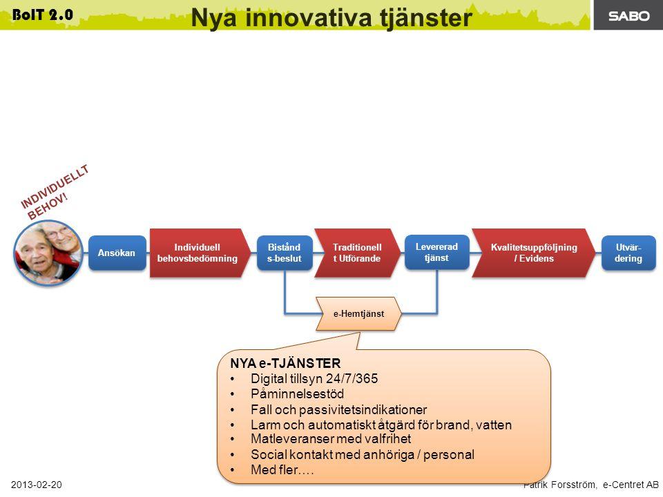 Patrik Forsström, e-Centret AB 2013-02-20 BoIT 2.0 Traditionell t Utförande Nya innovativa tjänster Kvalitetsuppföljning / Evidens Bistånd s-beslut Utvär- dering Ansökan e-Hemtjänst Levererad tjänst Individuell behovsbedömning INDIVIDUELLT BEHOV.