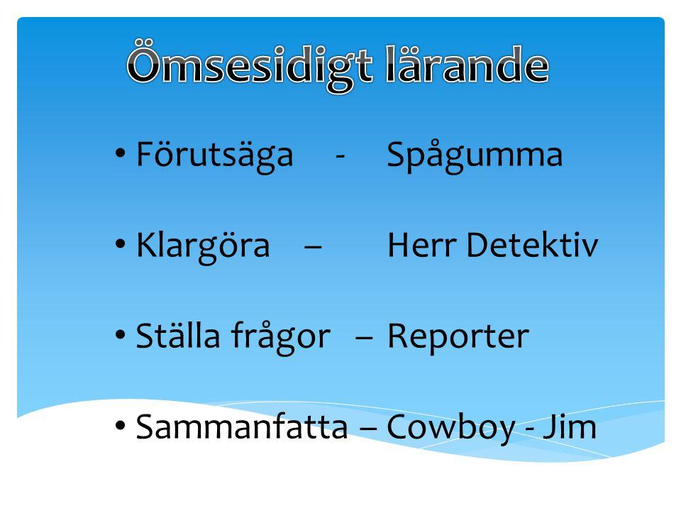 Förutsäga - Spågumma Klargöra – Herr Detektiv Ställa frågor – Reporter Sammanfatta – Cowboy - Jim