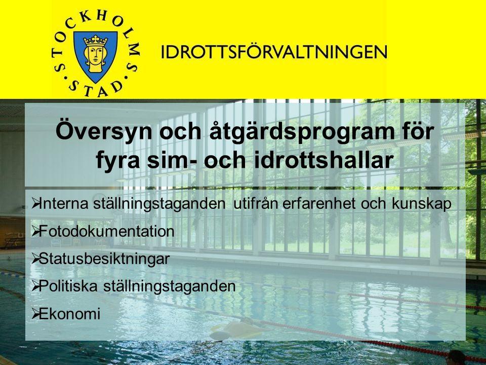 Översyn och åtgärdsprogram för fyra sim- och idrottshallar  Interna ställningstaganden utifrån erfarenhet och kunskap  Fotodokumentation  Statusbes