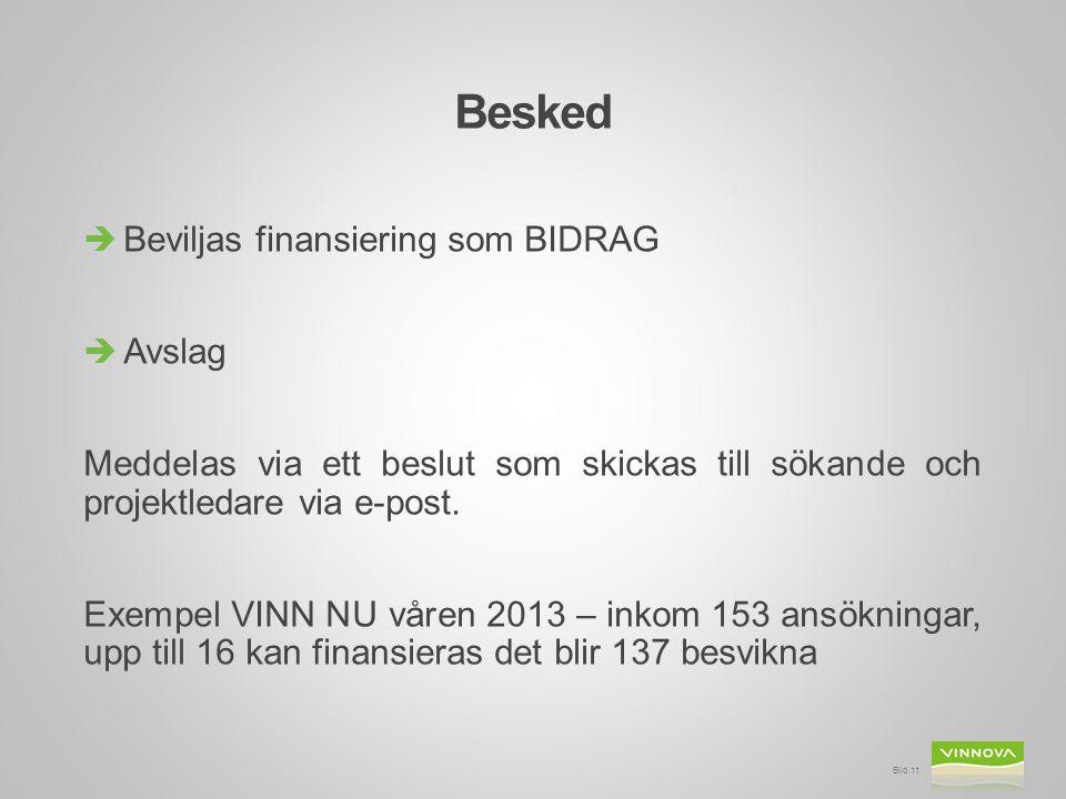 Besked  Beviljas finansiering som BIDRAG  Avslag Meddelas via ett beslut som skickas till sökande och projektledare via e-post. Exempel VINN NU våre