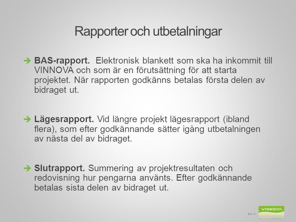 Rapporter och utbetalningar  BAS-rapport. Elektronisk blankett som ska ha inkommit till VINNOVA och som är en förutsättning för att starta projektet.