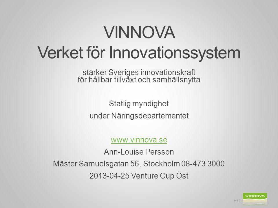 VINNOVA Verket för Innovationssystem stärker Sveriges innovationskraft för hållbar tillväxt och samhällsnytta Statlig myndighet under Näringsdeparteme