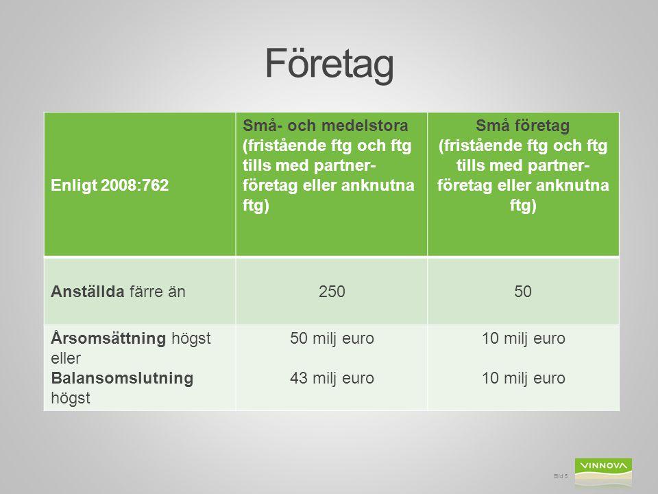 Företag Enligt 2008:762 Små- och medelstora (fristående ftg och ftg tills med partner- företag eller anknutna ftg) Små företag (fristående ftg och ftg