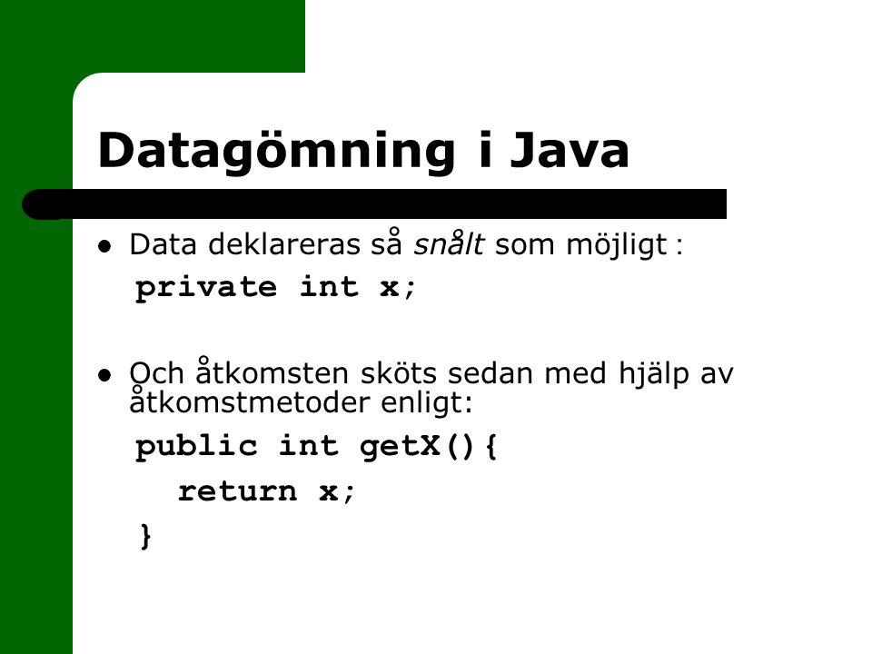 Datagömning i Java Data deklareras så snålt som möjligt : private int x; Och åtkomsten sköts sedan med hjälp av åtkomstmetoder enligt: public int getX