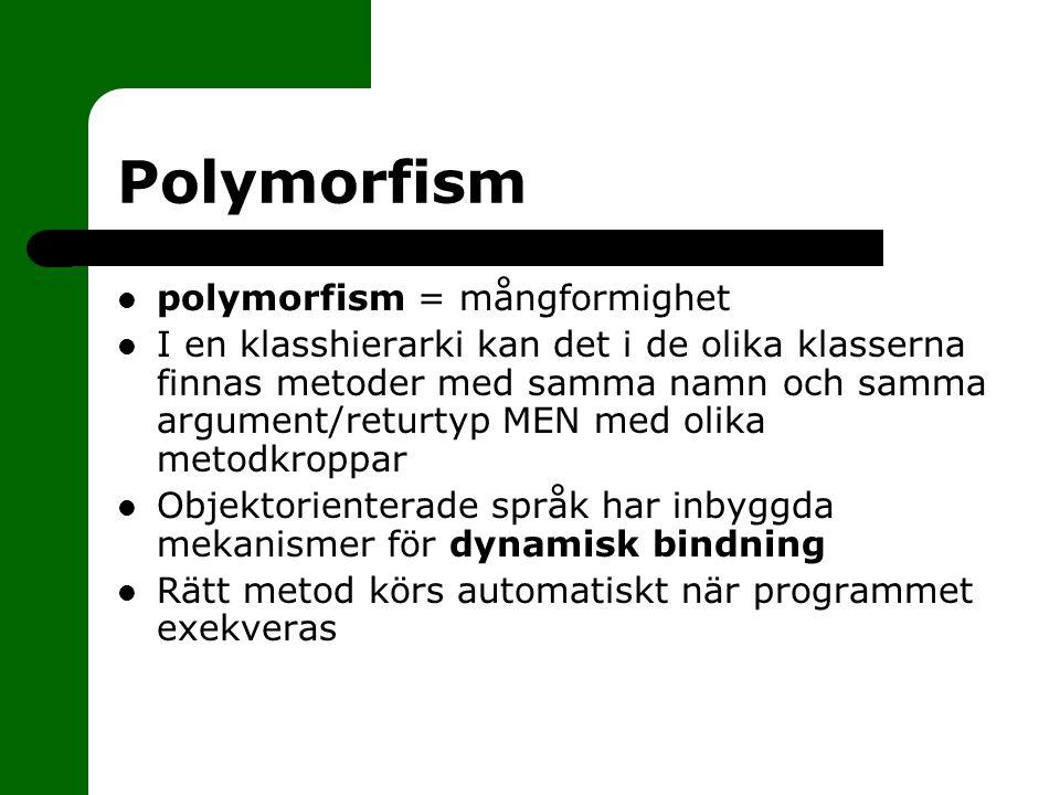 Polymorfism polymorfism = mångformighet I en klasshierarki kan det i de olika klasserna finnas metoder med samma namn och samma argument/returtyp MEN