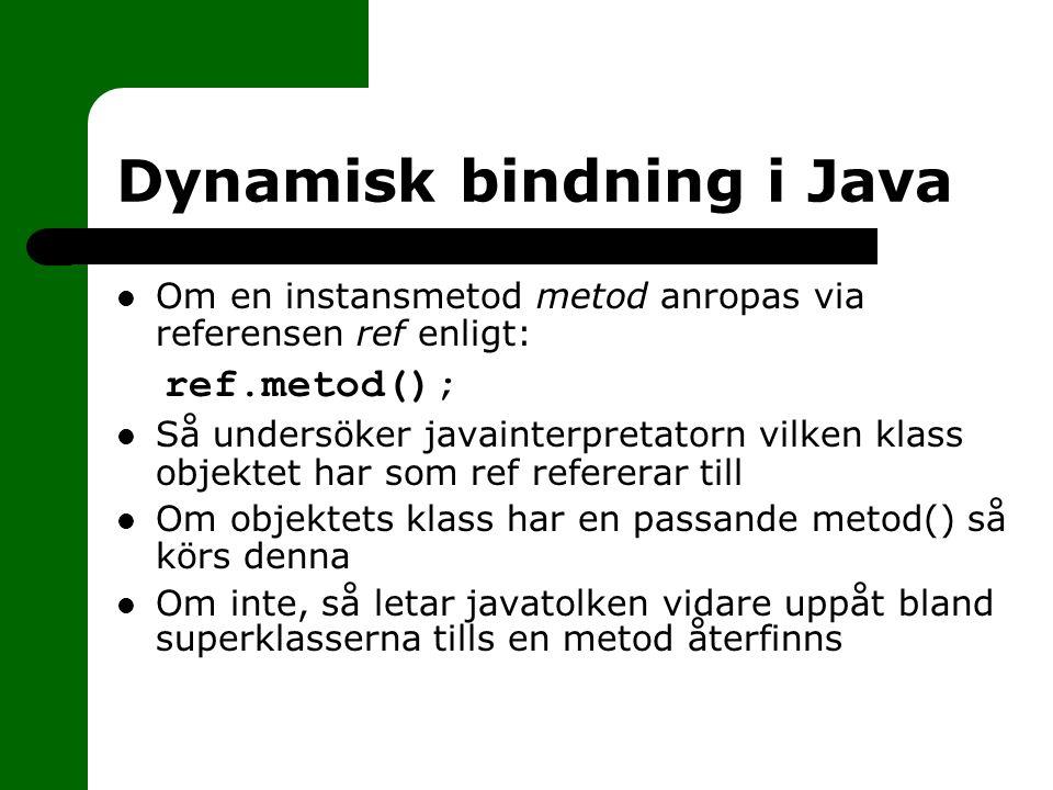Dynamisk bindning i Java Om en instansmetod metod anropas via referensen ref enligt: ref.metod(); Så undersöker javainterpretatorn vilken klass objekt