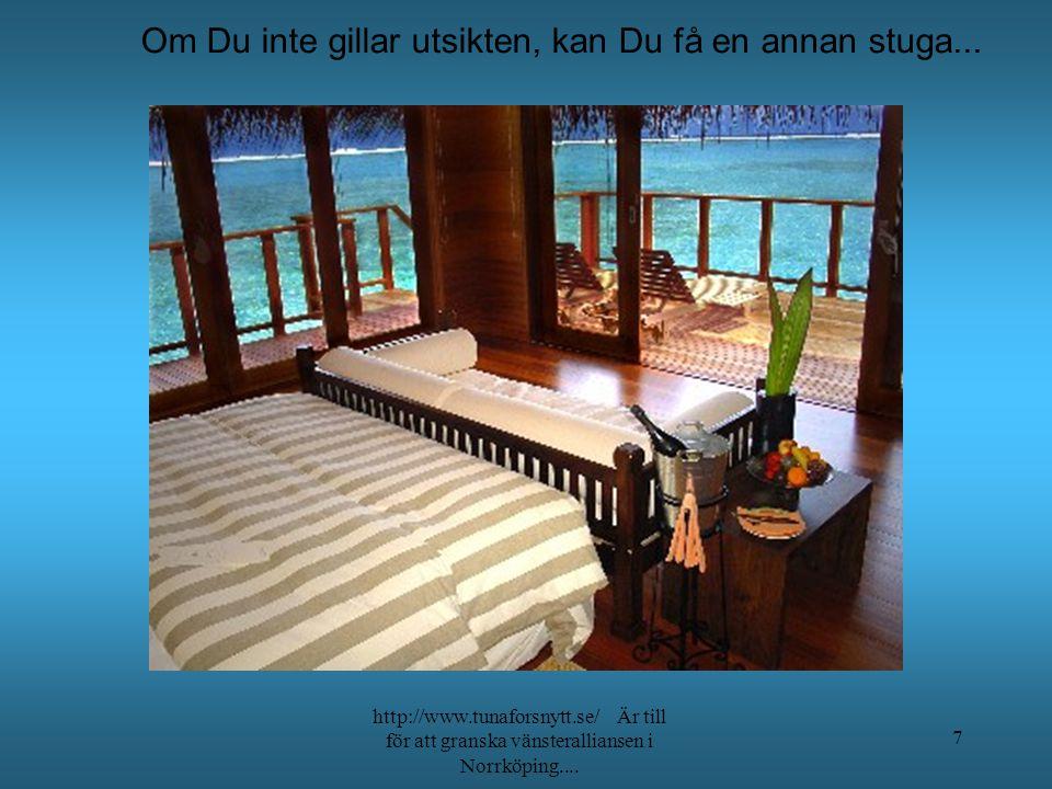 Stället ligger lite avlägset, så jag hämtar dig gärna med båten http://www.tunaforsnytt.se/ Är till för att granska vänsteralliansen i Norrköping....