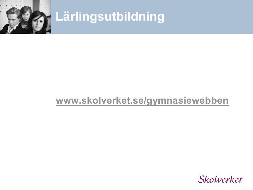 Lärlingsutbildning www.skolverket.se/gymnasiewebben