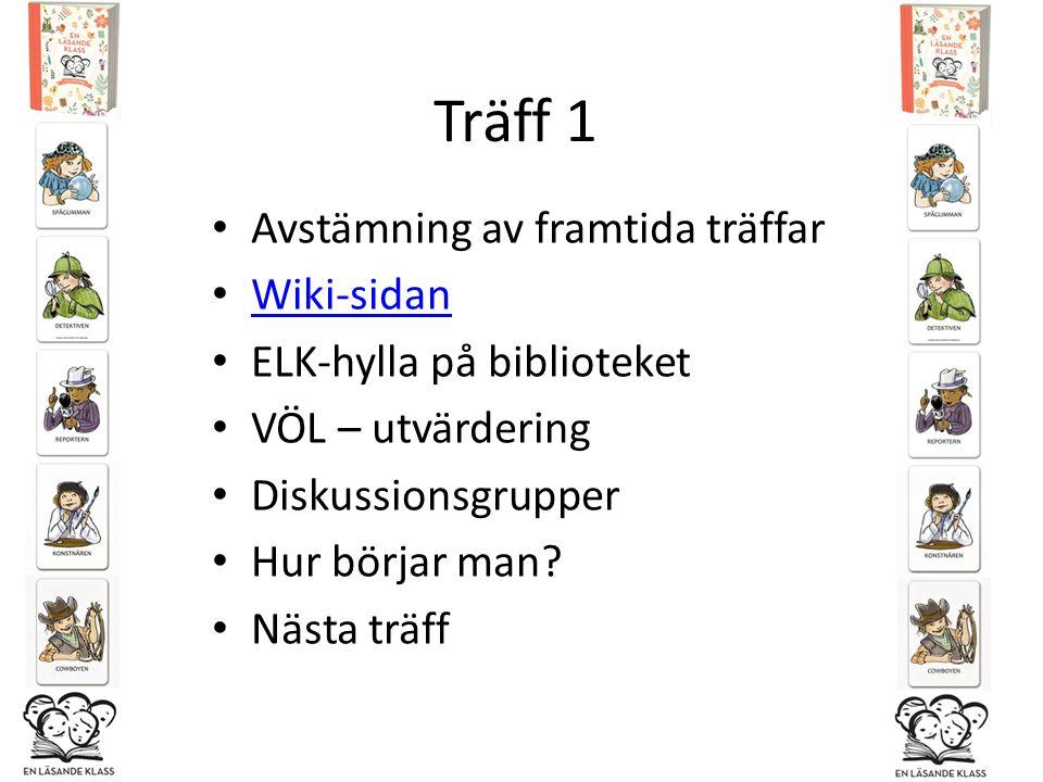 Träff 1 Avstämning av framtida träffar Wiki-sidan ELK-hylla på biblioteket VÖL – utvärdering Diskussionsgrupper Hur börjar man? Nästa träff