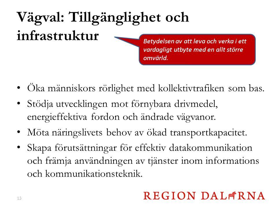 Vägval: Tillgänglighet och infrastruktur Öka människors rörlighet med kollektivtrafiken som bas.