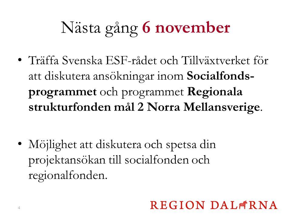 Nästa gång 6 november Träffa Svenska ESF-rådet och Tillväxtverket för att diskutera ansökningar inom Socialfonds- programmet och programmet Regionala strukturfonden mål 2 Norra Mellansverige.