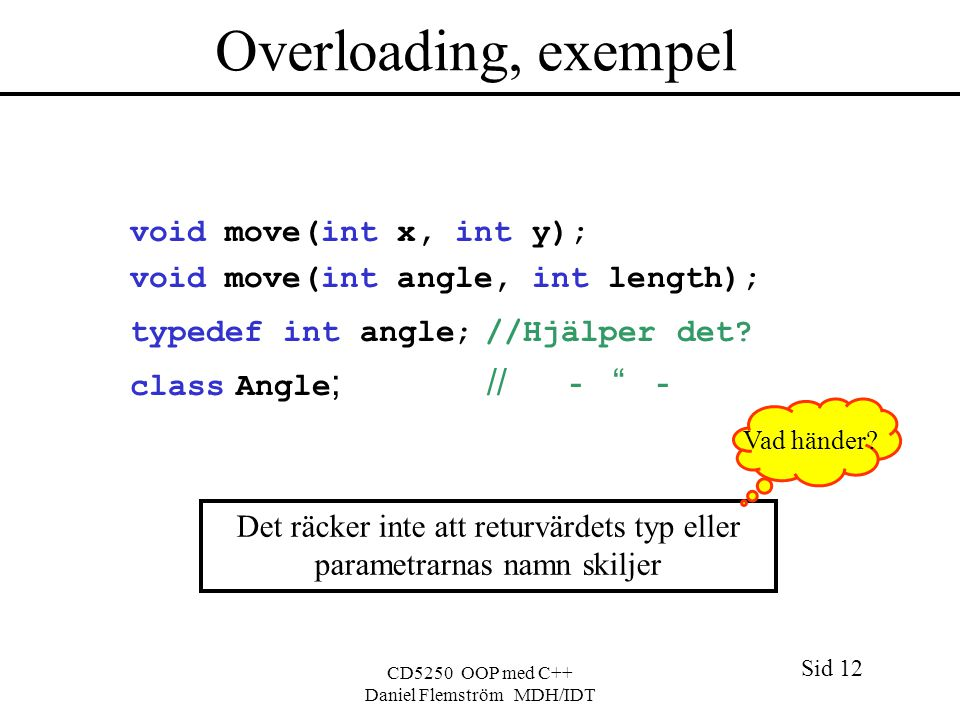Sid 12 CD5250 OOP med C++ Daniel Flemström MDH/IDT Overloading, exempel void move(int x, int y); void move(int angle, int length); typedef int angle; //Hjälper det.