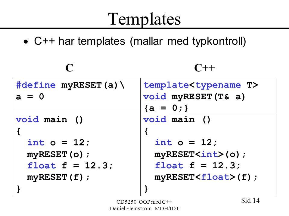 Sid 14 CD5250 OOP med C++ Daniel Flemström MDH/IDT Templates  C++ har templates (mallar med typkontroll) C C++ #define myRESET(a)\ a = 0 void main () { int o = 12; myRESET(o); float f = 12.3; myRESET(f); } template void myRESET(T& a) {a = 0;} void main () { int o = 12; myRESET (o); float f = 12.3; myRESET (f); }