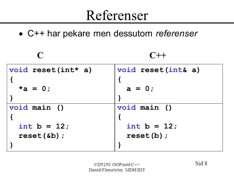 Sid 8 CD5250 OOP med C++ Daniel Flemström MDH/IDT Referenser  C++ har pekare men dessutom referenser C C++ void reset(int* a) { *a = 0; } void main () { int b = 12; reset(&b); } void reset(int& a) { a = 0; } void main () { int b = 12; reset(b); }
