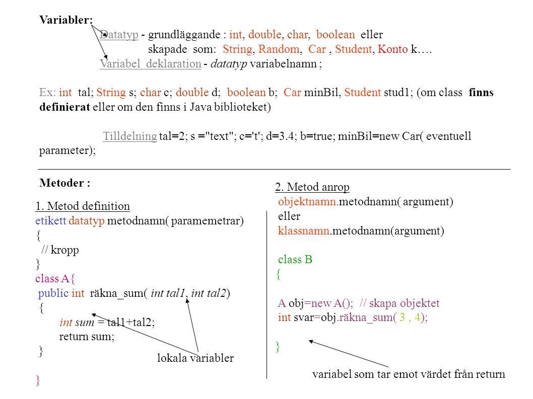 Variabler: Datatyp - grundläggande : int, double, char, boolean eller skapade som: String, Random, Car, Student, Konto k…. Variabel deklaration - data