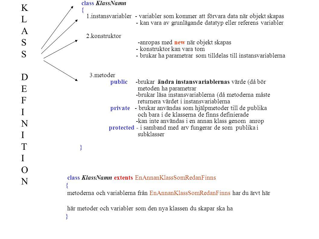 class KlassNamn { 1.instansvariabler - variabler som kommer att förvara data när objekt skapas - kan vara av grunlägande datatyp eller referens variab