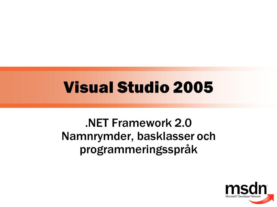 Mål med presentationen  Introducera.NET Framework 2.0  Generics  Anonyma metoder  Iteratorer  Delade klasser  Nyheter i språken  Refactoring och code snippets i Visual C#  My.* i Visual Basic.NET  C++/CLI