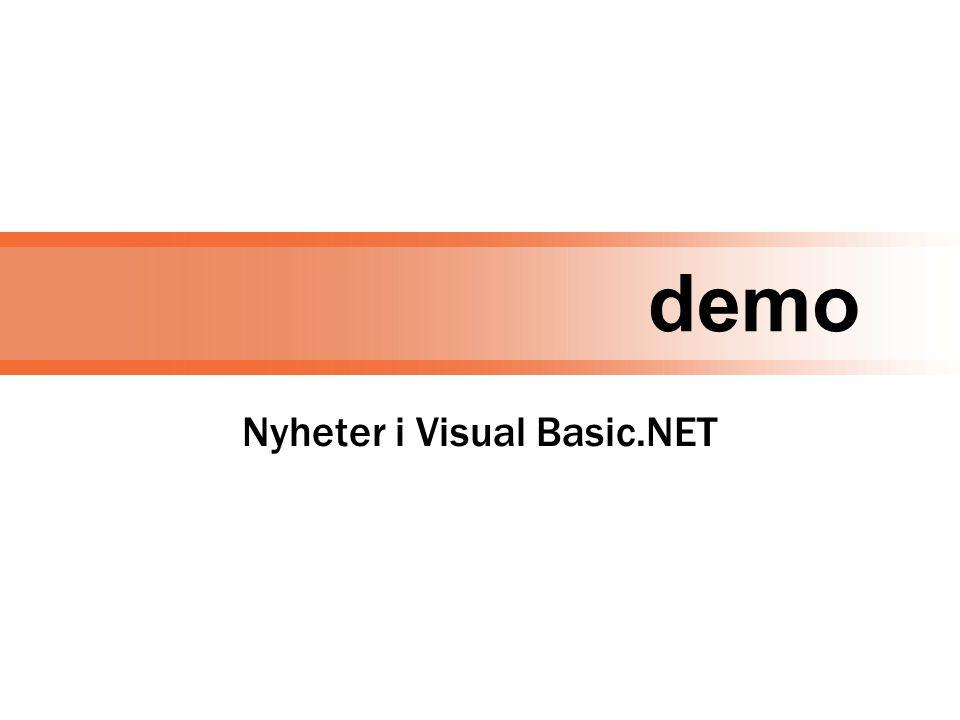 demo Nyheter i Visual Basic.NET