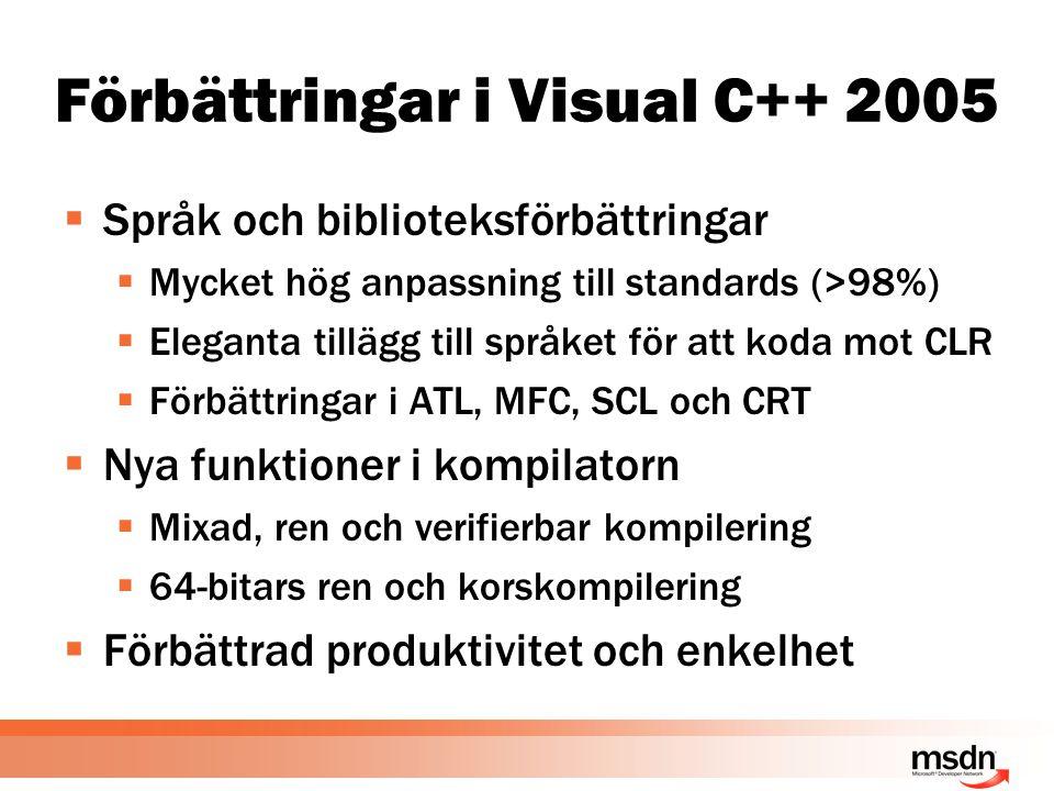 Förbättringar i Visual C++ 2005  Språk och biblioteksförbättringar  Mycket hög anpassning till standards (>98%)  Eleganta tillägg till språket för att koda mot CLR  Förbättringar i ATL, MFC, SCL och CRT  Nya funktioner i kompilatorn  Mixad, ren och verifierbar kompilering  64-bitars ren och korskompilering  Förbättrad produktivitet och enkelhet