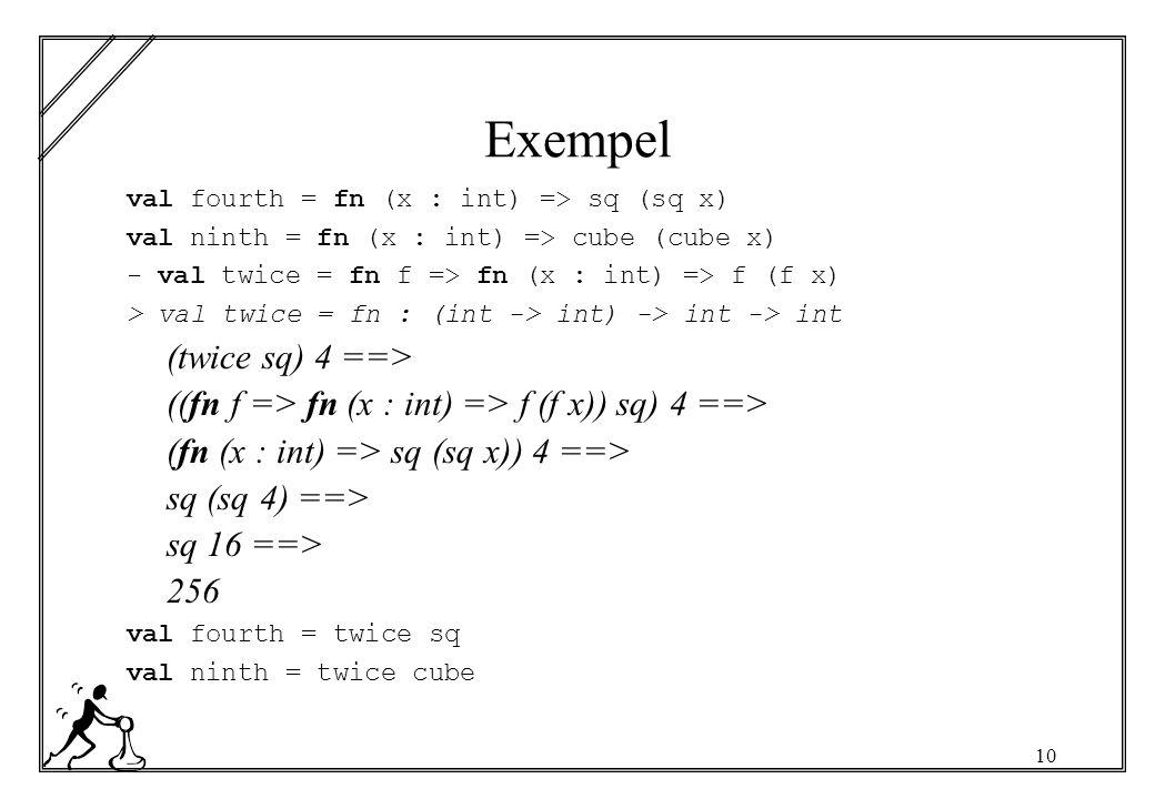 10 Exempel val fourth = fn (x : int) => sq (sq x) val ninth = fn (x : int) => cube (cube x) - val twice = fn f => fn (x : int) => f (f x) > val twice = fn : (int -> int) -> int -> int (twice sq) 4 ==> ((fn f => fn (x : int) => f (f x)) sq) 4 ==> (fn (x : int) => sq (sq x)) 4 ==> sq (sq 4) ==> sq 16 ==> 256 val fourth = twice sq val ninth = twice cube