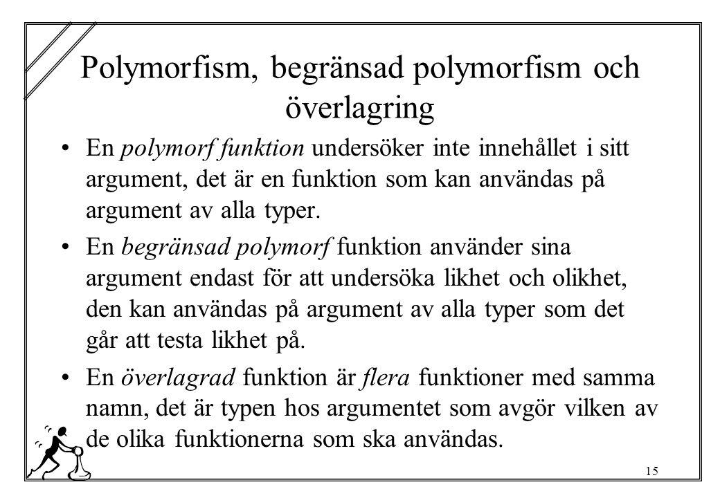 15 Polymorfism, begränsad polymorfism och överlagring En polymorf funktion undersöker inte innehållet i sitt argument, det är en funktion som kan användas på argument av alla typer.