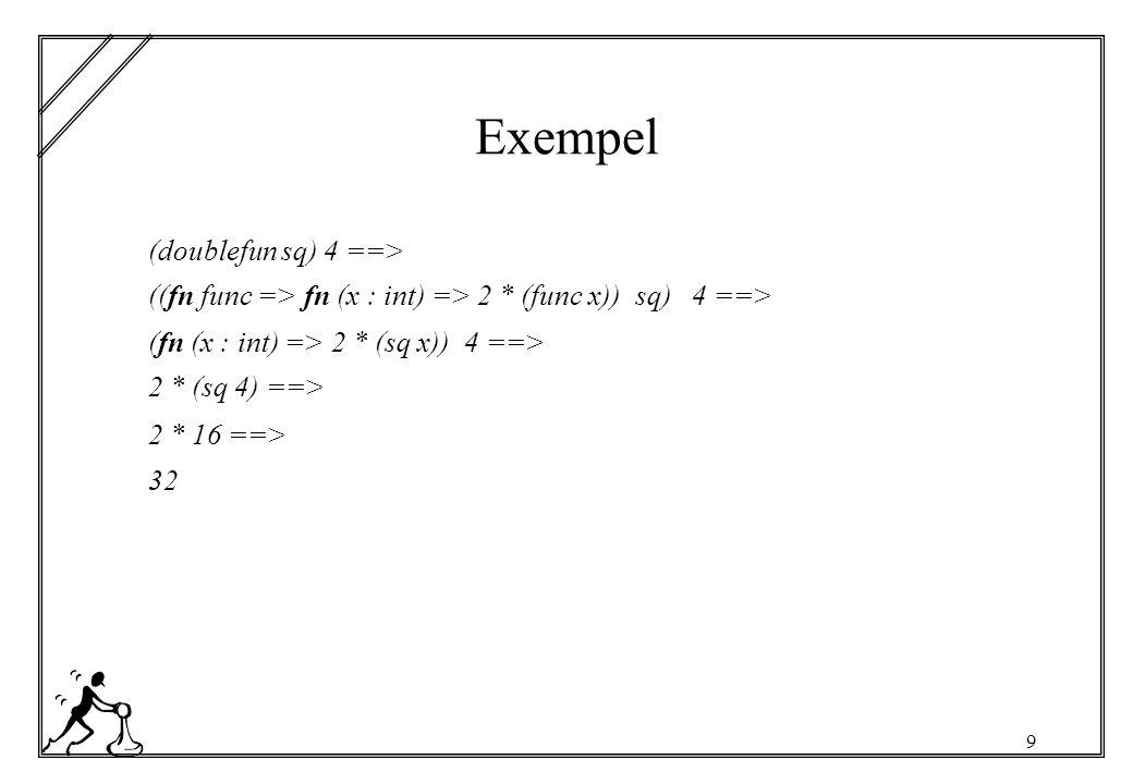 20 Räckviddsregler Alla programspråk har regler som avgör var namn får användas och hur användningen kopplas till definition En användning av en formell parameter kopplas till den innersta omslutande funktion som binder den formella parametern.