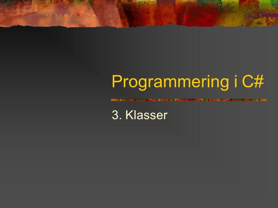 Programmering i C# - Kapitel 3 12 Referensanrop med struct Referensanrop med struct fås med modifierarna ref eller out Anges både i definition och i anrop Liten skillnad: out kan vara oinitierad static void F(ref int x, int[] vec) { … // gör något med x } static void Main() { … F(ref i, iv); } // i kan ändras av anropet