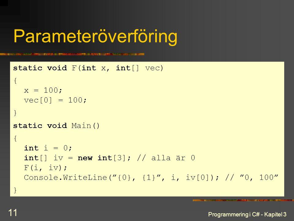 Programmering i C# - Kapitel 3 11 Parameteröverföring static void F(int x, int[] vec) { x = 100; vec[0] = 100; } static void Main() { int i = 0; int[] iv = new int[3]; // alla är 0 F(i, iv); Console.WriteLine( {0}, {1} , i, iv[0]); // 0, 100 }