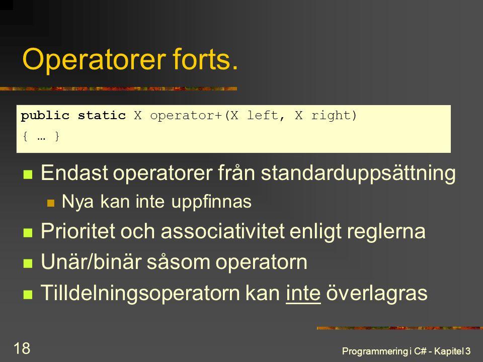 Programmering i C# - Kapitel 3 18 Operatorer forts. Endast operatorer från standarduppsättning Nya kan inte uppfinnas Prioritet och associativitet enl