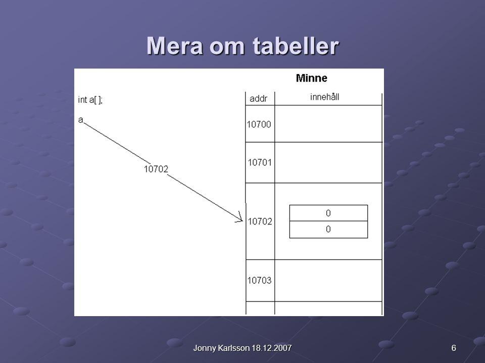 7Jonny Karlsson 18.12.2007 Mera om tabeller Detta är alltså skillnaden mellan primitiva datatyper (int, float, double...) och referenstyper (t.ex.