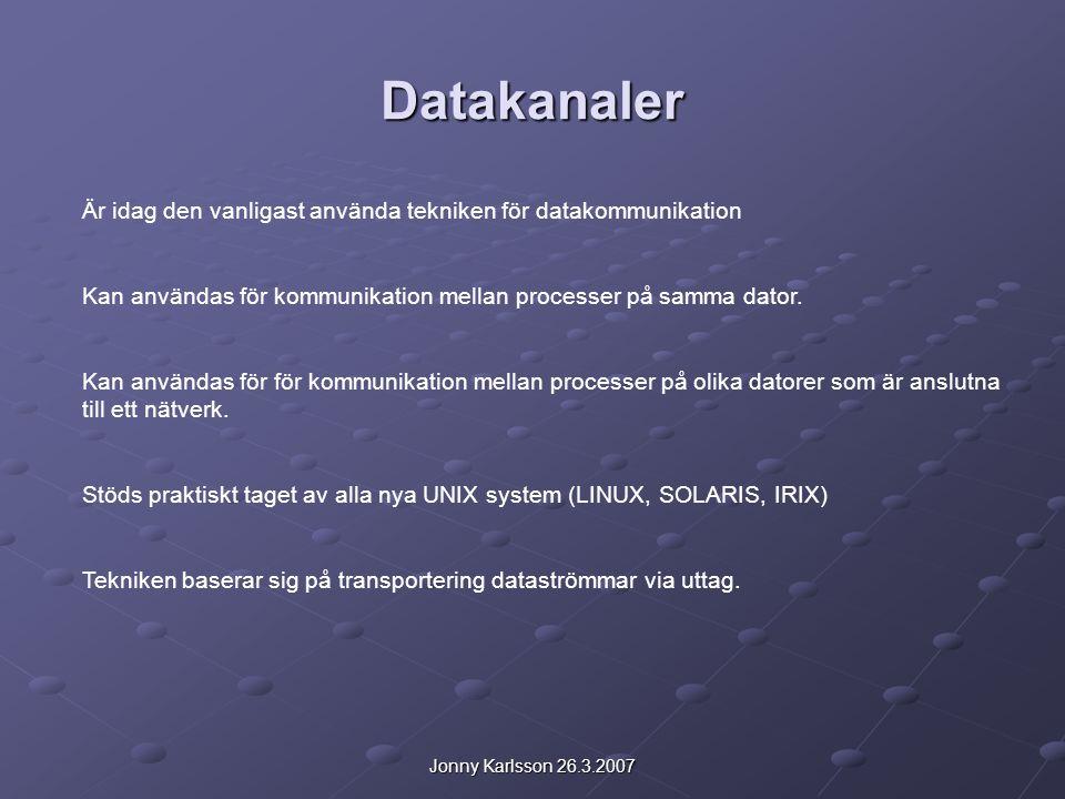 Jonny Karlsson 26.3.2007 Kommunikation på samma dator Adressinfor sparas i en post av typen struct sockaddr: #include #include struct sockaddr { u_short sa_family;//adressfamilj char sa_data[14];//teckentabell för namn }; i sa_family sparas samma värde som gavs som argument till socket() d.v.s.