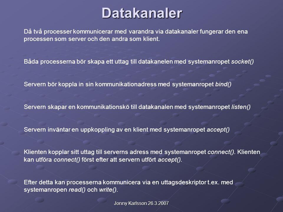 Datakanaler Då två processer kommunicerar med varandra via datakanaler fungerar den ena processen som server och den andra som klient.