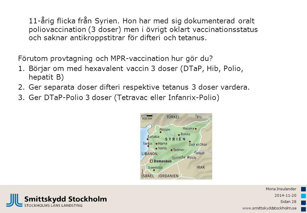 Mona Insulander 2014-11-20 Sidan 28 www.smittskyddstockholm.se 11-årig flicka från Syrien. Hon har med sig dokumenterad oralt poliovaccination (3 dose