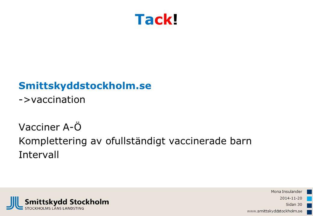Mona Insulander 2014-11-20 Sidan 30 www.smittskyddstockholm.se Tack! Smittskyddstockholm.se ->vaccination Vacciner A-Ö Komplettering av ofullständigt