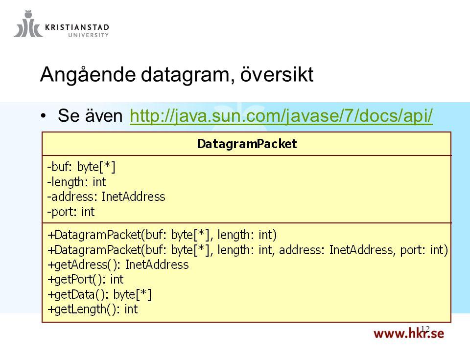 12 Angående datagram, översikt Se även http://java.sun.com/javase/7/docs/api/http://java.sun.com/javase/7/docs/api/