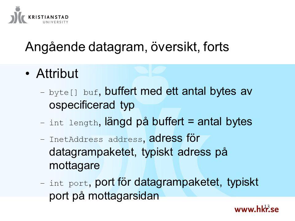 13 Angående datagram, översikt, forts Attribut –byte[] buf, buffert med ett antal bytes av ospecificerad typ –int length, längd på buffert = antal byt