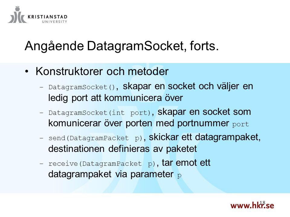 18 Angående DatagramSocket, forts. Konstruktorer och metoder –DatagramSocket(), skapar en socket och väljer en ledig port att kommunicera över –Datagr
