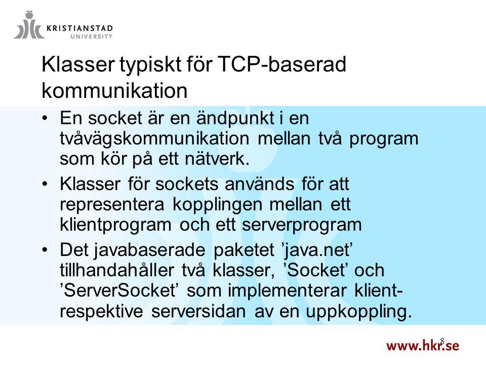 8 8 Klasser typiskt för TCP-baserad kommunikation En socket är en ändpunkt i en tvåvägskommunikation mellan två program som kör på ett nätverk. Klasse