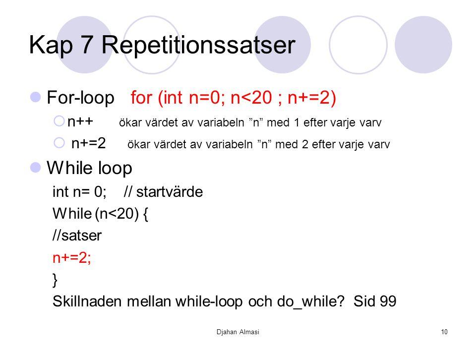 """Djahan Almasi10 Kap 7 Repetitionssatser For-loop for (int n=0; n<20 ; n+=2)  n++ ökar värdet av variabeln """"n"""" med 1 efter varje varv  n+=2 ökar värd"""