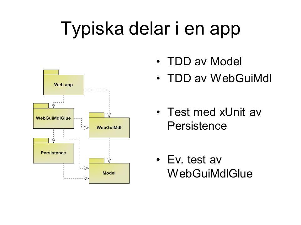Typiska delar i en app TDD av Model TDD av WebGuiMdl Test med xUnit av Persistence Ev.