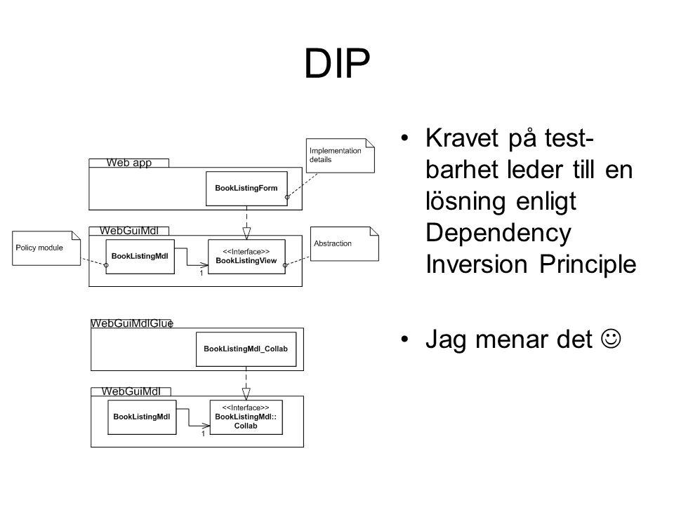 DIP Kravet på test- barhet leder till en lösning enligt Dependency Inversion Principle Jag menar det