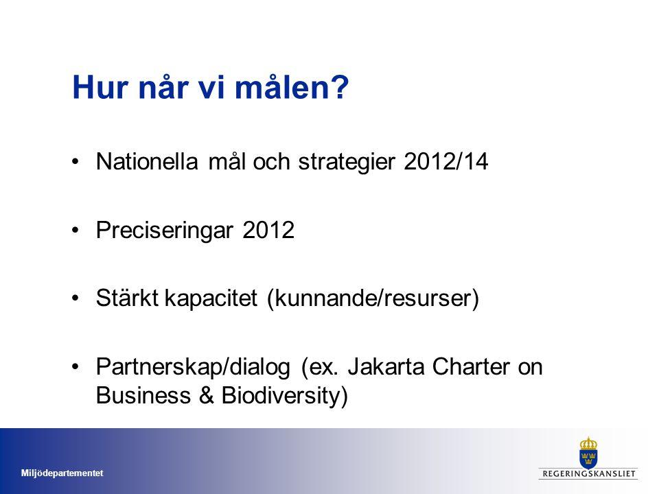 Miljödepartementet Hur når vi målen? Nationella mål och strategier 2012/14 Preciseringar 2012 Stärkt kapacitet (kunnande/resurser) Partnerskap/dialog